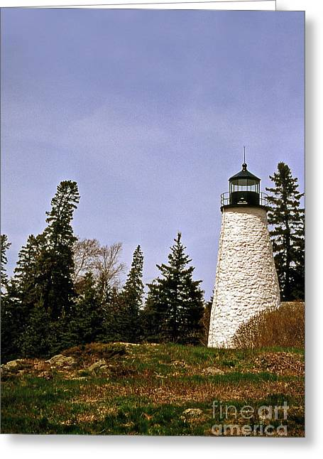 Maine Beach Greeting Cards - Dice Head Lighthouse Greeting Card by Skip Willits