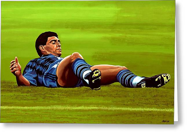 Argentina Greeting Cards - Diego Maradona Greeting Card by Paul  Meijering