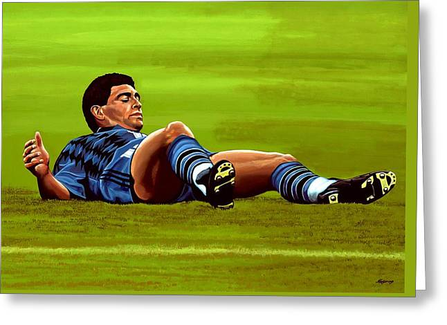 Coach Greeting Cards - Diego Maradona Greeting Card by Paul Meijering