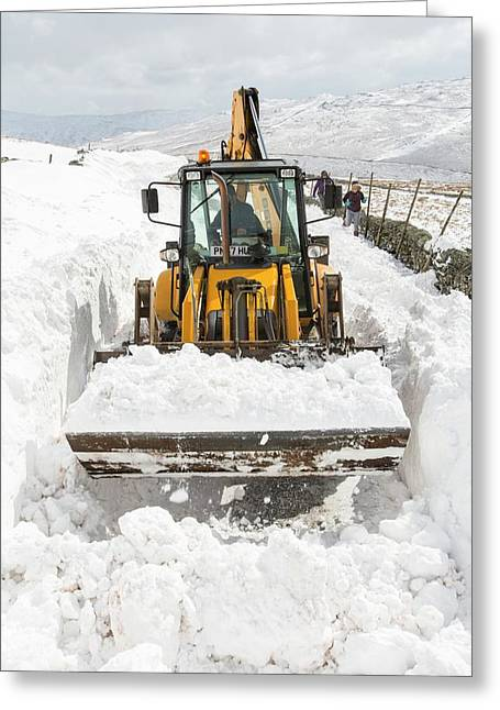 Digger Clearing Snow Drifts Greeting Card by Ashley Cooper