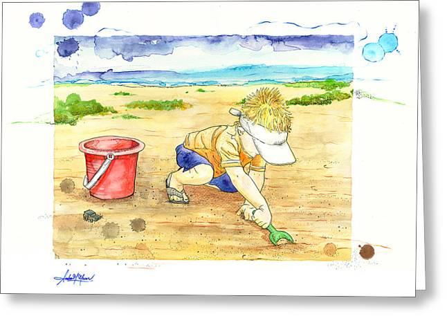 Moran Mixed Media Greeting Cards - Digging for Treasure Greeting Card by Amber M  Moran