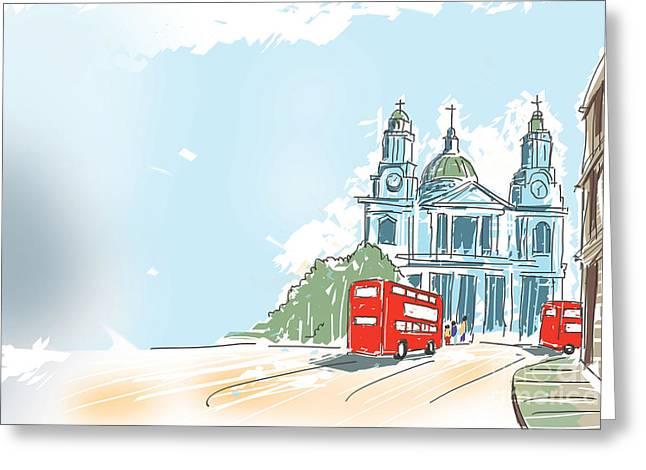 Winter Road Scenes Digital Greeting Cards - Digital illustration St Paul Cathedral London UK Greeting Card by Ryan Jorgensen