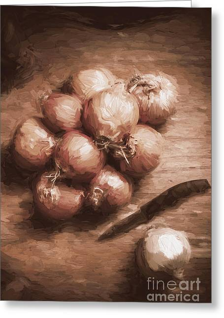 Digital Painting Of Brown Onions On Kitchen Table Greeting Card by Jorgo Photography - Wall Art Gallery