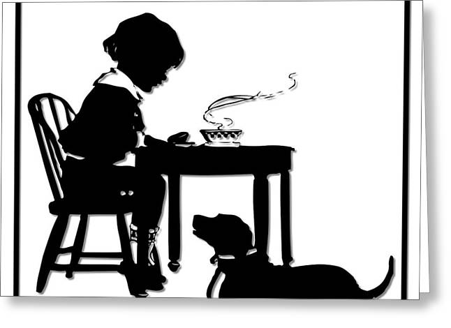 Supper Bowl Greeting Cards - Dining with the Dog Silhouette Greeting Card by Rose Santuci-Sofranko