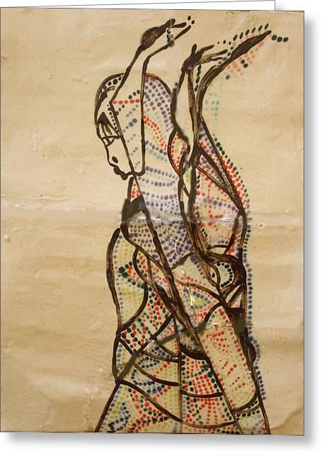 Drawing Ceramics Greeting Cards - Dinka Dance - South Sudan Greeting Card by Gloria Ssali