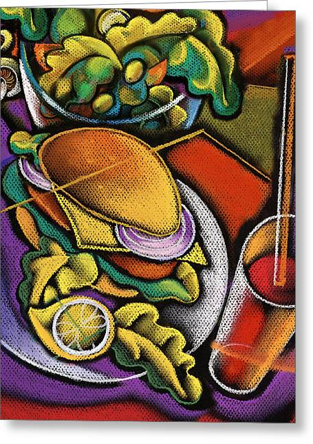 Enjoyment Greeting Cards - Dinner Greeting Card by Leon Zernitsky