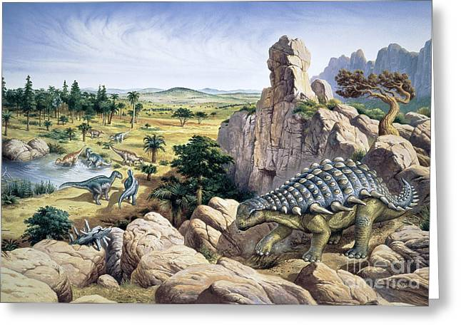 Ankylosaurus Greeting Cards - Dinosaurs Greeting Card by Christian Jegou