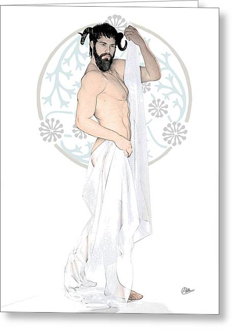 Veiled Drawings Greeting Cards - Dionysus By Quim Abella Greeting Card by Joaquin Abella