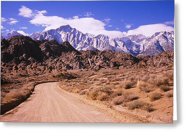 Lone Pine Greeting Cards - Dirt Road Passing Through An Arid Greeting Card by Panoramic Images
