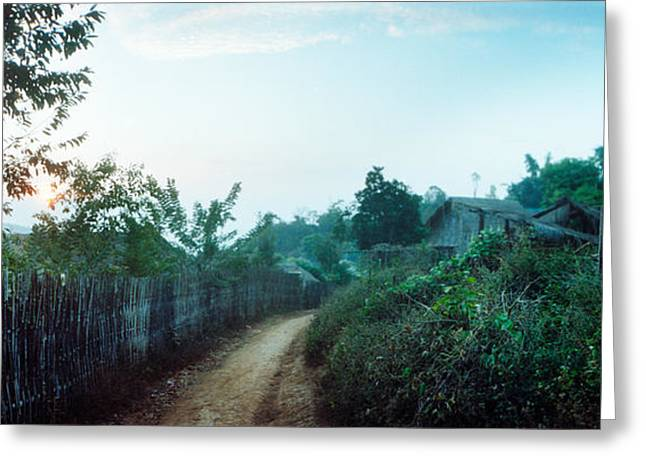 Chiang Mai Greeting Cards - Dirt Road Passing Through An Indigenous Greeting Card by Panoramic Images