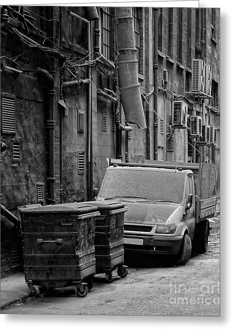 Unclean Greeting Cards - Dirty Back Streets Mono Greeting Card by Antony McAulay