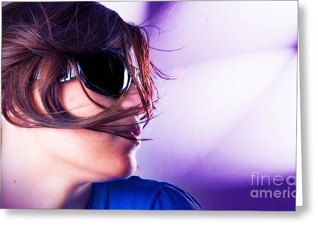 Disco Girl Greeting Card by Michal Bednarek