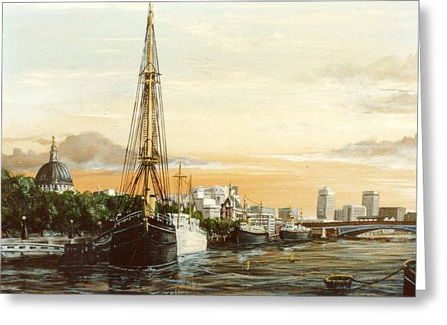 Scott Of The Antarctic Greeting Cards - Discovery on the banks of The River Thames London Greeting Card by Mackenzie Moulton