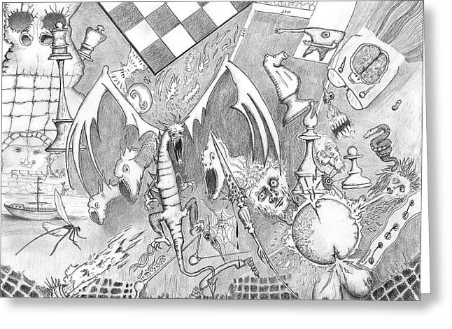 Chess Piece Drawings Greeting Cards - Disintegration of Sorts Greeting Card by Dan Twyman