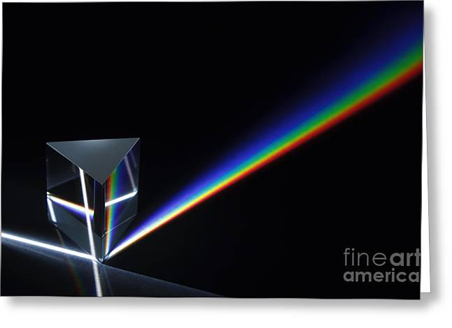 Geometric Effect Greeting Cards - Dispersion Of White Light Greeting Card by GIPhotoStock