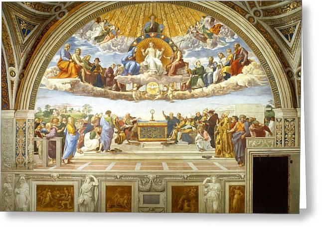 Sacrament Greeting Cards - Disputation of Holy Sacrament Greeting Card by Raphael