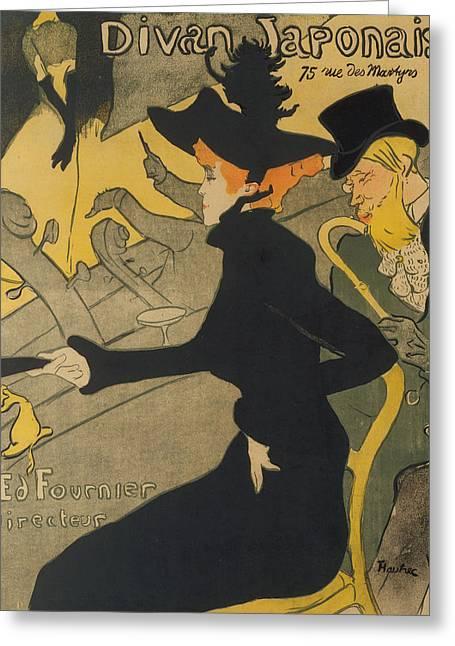 Divan Greeting Cards - Divan Japonais Greeting Card by Henri de Toulouse-Lautrec