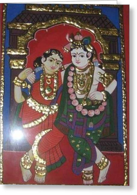 Tanjore Greeting Cards - Divine love Greeting Card by Artist Den