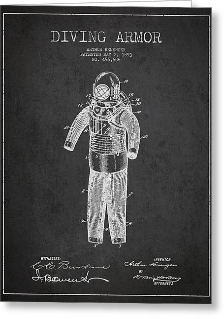 Diving Suit Greeting Cards - Diving Armor Patent Drawing from 1893 Greeting Card by Aged Pixel