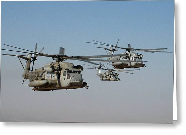 Division Greeting Cards - Division of CH-53 flying in Afghanistan Greeting Card by Jetson Nguyen