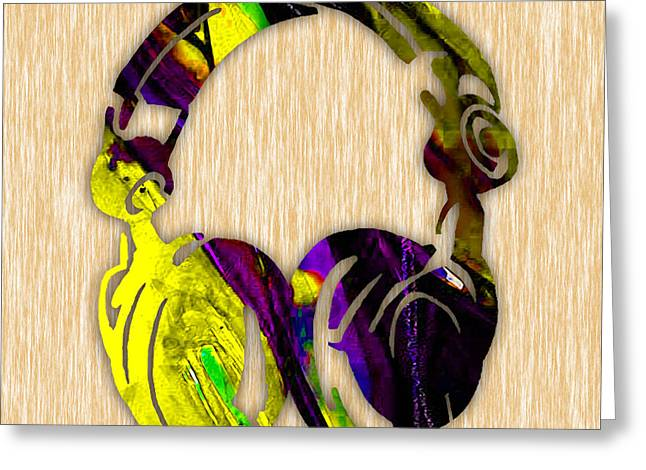Electronica Greeting Cards - DJs Headphones Greeting Card by Marvin Blaine