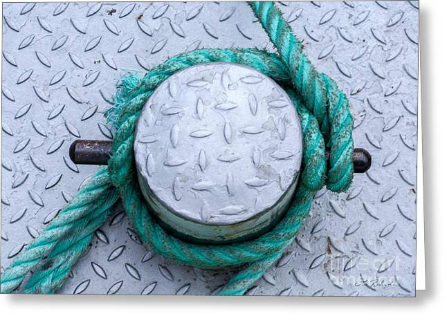 Bollard Greeting Cards - Dock Bollard with Green Boat Rope Greeting Card by Iris Richardson