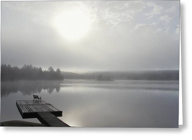 Jul08 Greeting Cards - Dock In Morning Fog, Oxtongue Lake Greeting Card by Doug Hamilton