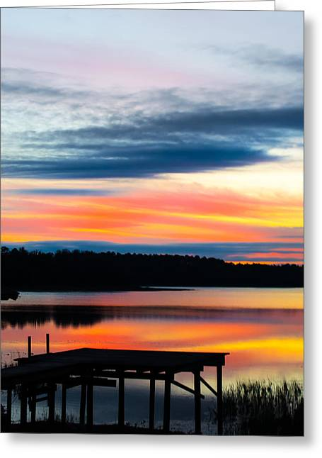 Florida House Greeting Cards - Dock Sunset Greeting Card by Parker Cunningham