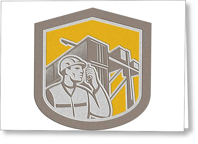 Cellphone Greeting Cards - Dock Worker on Phone Container Yard Shield Greeting Card by Aloysius Patrimonio