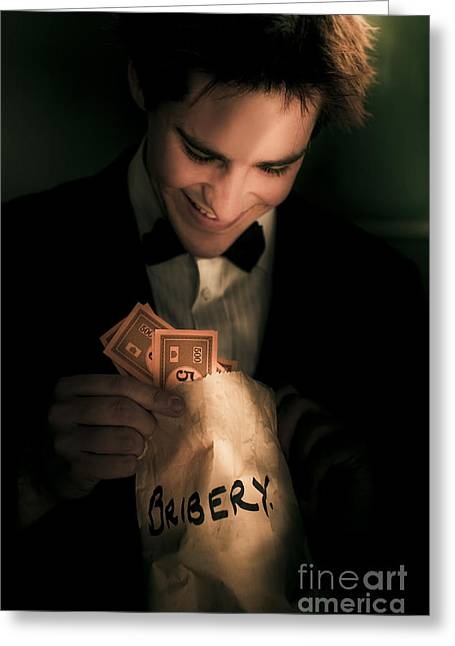 Bribery Greeting Cards - Dodgy Business Deal Greeting Card by Ryan Jorgensen