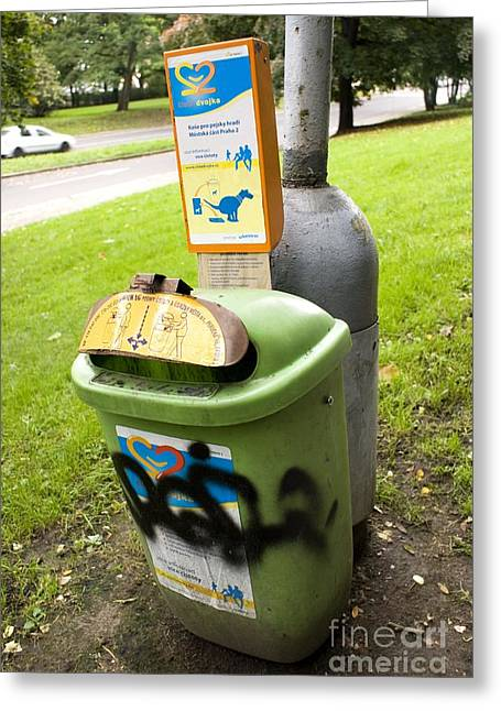Pet Health Greeting Cards - Dog Waste Bin In Prague Greeting Card by Mark Williamson