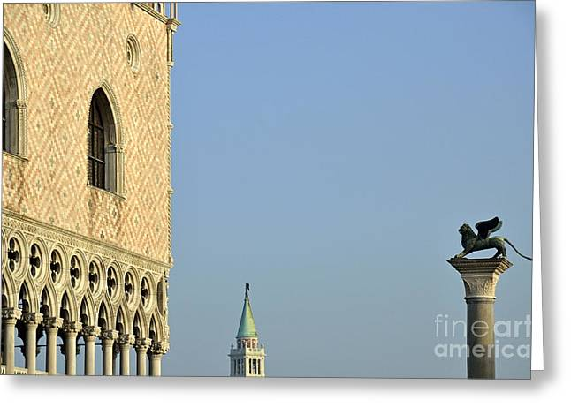 Palace Ducal Greeting Cards - Doges Palace and Column of San Marco Greeting Card by Sami Sarkis