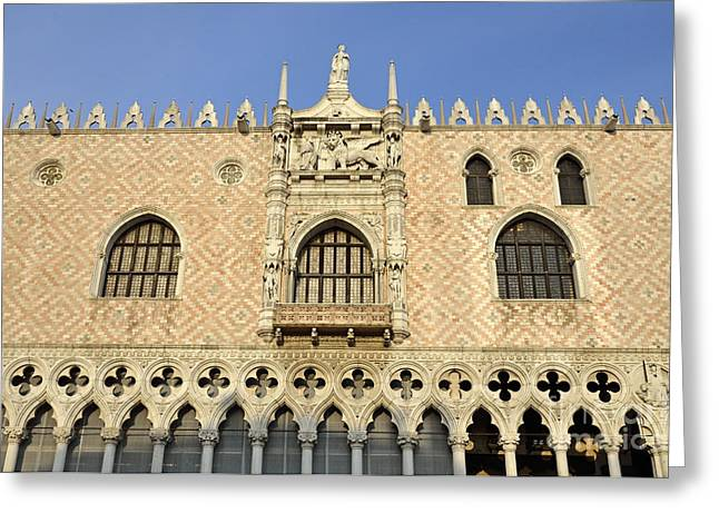 Palace Ducal Greeting Cards - Doges Palace at sunset Greeting Card by Sami Sarkis