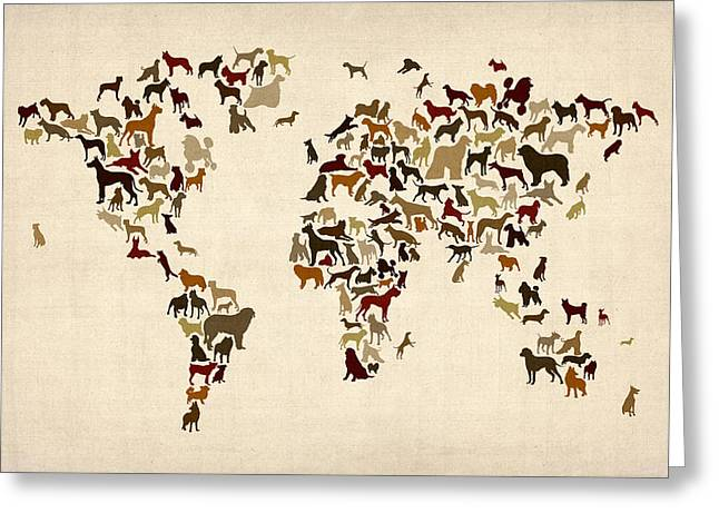 World Map Print Greeting Cards - Dogs Map of the World Map Greeting Card by Michael Tompsett
