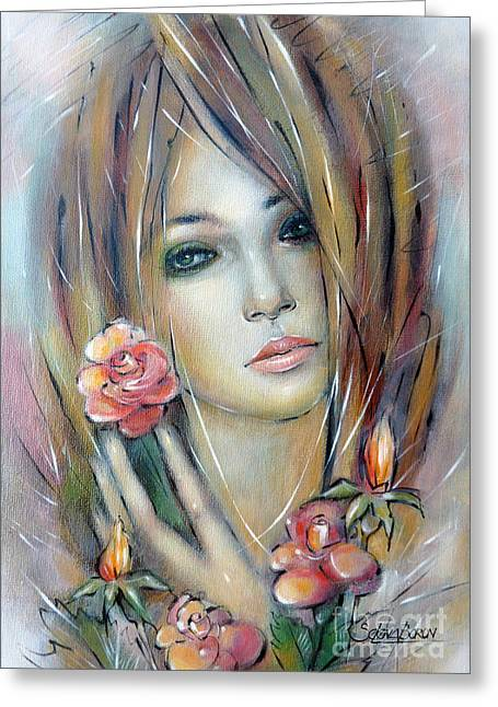 Australian Gold Coast Artist Greeting Cards - Doll With Roses 010111 Greeting Card by Selena Boron
