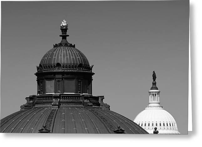U.s. Capitol Dome Greeting Cards - Domes of the Library of Congress and the Capitol Greeting Card by Mountain Dreams
