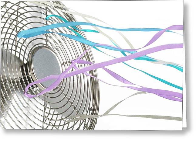 Domestic Fan Showing Air Movement Greeting Card by Science Photo Library