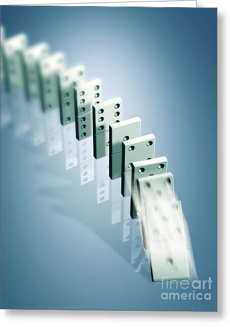 Cause And Effect Greeting Cards - Domino Effect Greeting Card by Pasieka