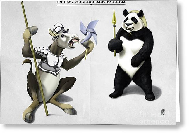 Don Quixote Greeting Cards - Donkey Xote and Sancho Panda Greeting Card by Rob Snow