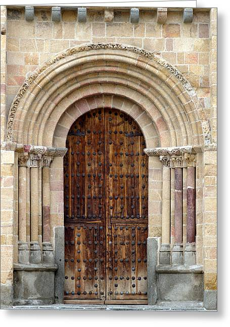 Medieval Entrance Photographs Greeting Cards - Door Greeting Card by Frank Tschakert