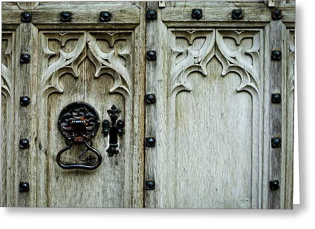 Medieval Entrance Photographs Greeting Cards - Door handle Greeting Card by Tom Gowanlock