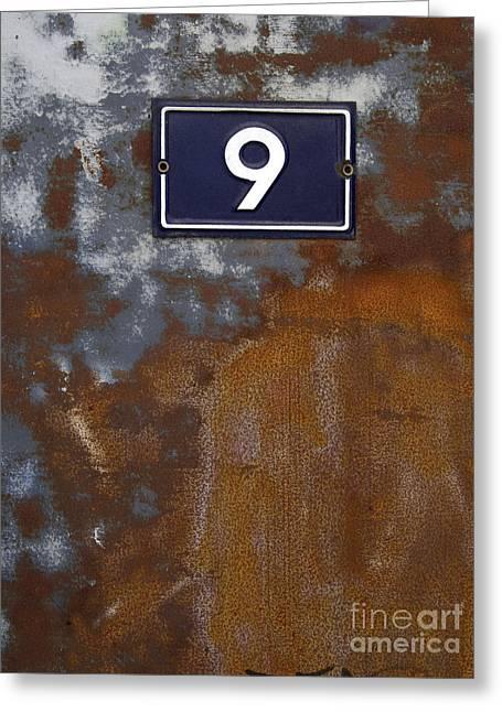 Dilapidated Photographs Greeting Cards - Door in scrap metal  and number 9 Greeting Card by Bernard Jaubert