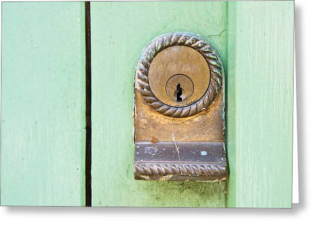 Chrome Handles Greeting Cards - Door lock Greeting Card by Tom Gowanlock