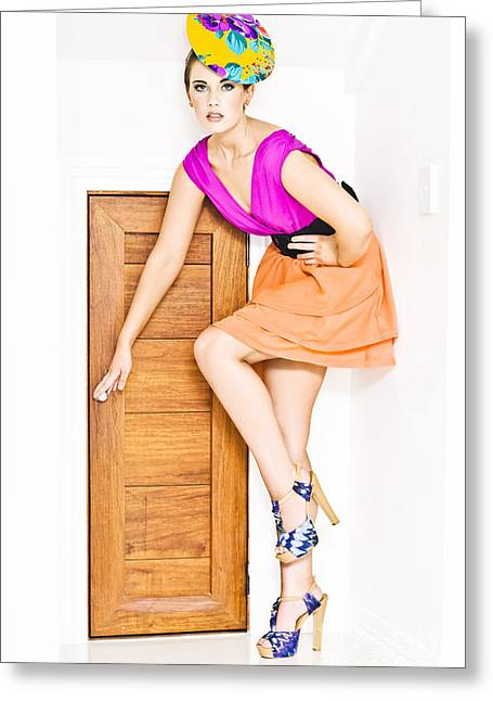Super Girl Photographs Greeting Cards - Door To Fashion Stardom Greeting Card by Ryan Jorgensen