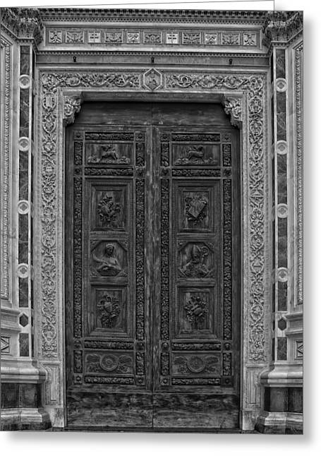 Florence Greeting Cards - Doorway to the Basilica Santa Croce in Florence Greeting Card by Mountain Dreams