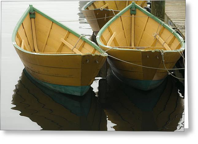 Dories At The Dock Greeting Card by David Stone