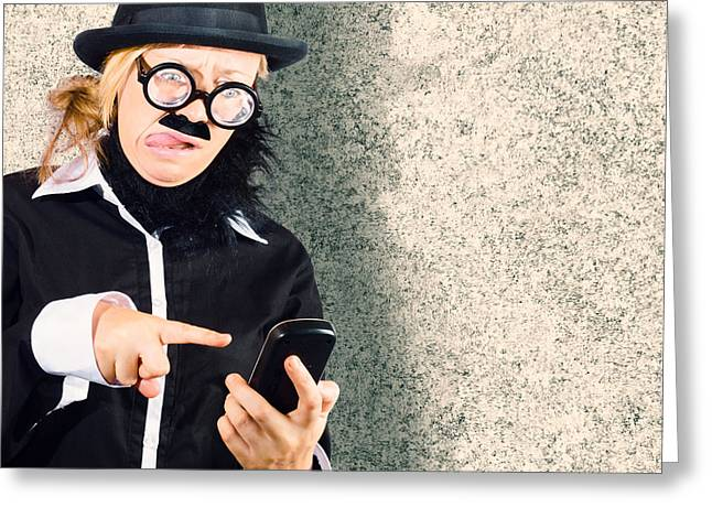 Dorky Businessman Texting On Mobile Smart Phone Greeting Card by Jorgo Photography - Wall Art Gallery
