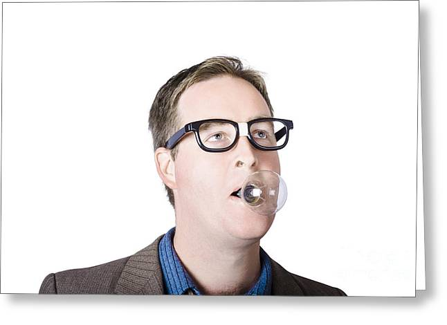 Clever Greeting Cards - Dorky man with lightbulb in mouth Greeting Card by Ryan Jorgensen