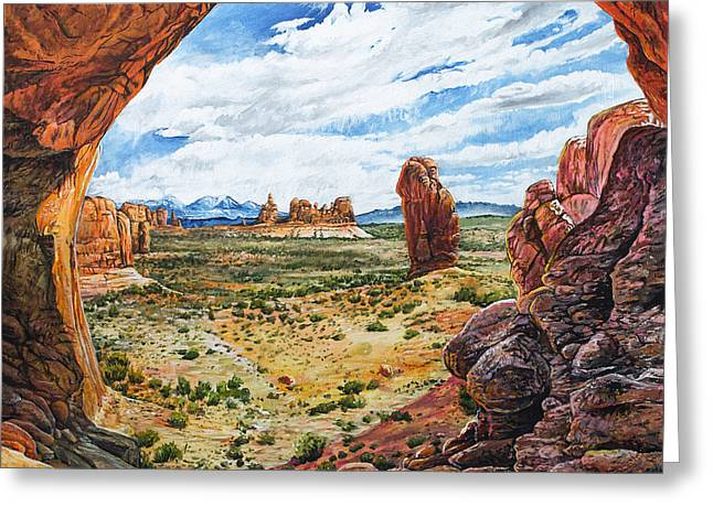 Canyon Lands Greeting Cards - Double Arch Greeting Card by Aaron Spong