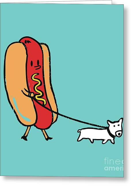 Fast Food Greeting Cards - Double Dog Greeting Card by Budi Kwan